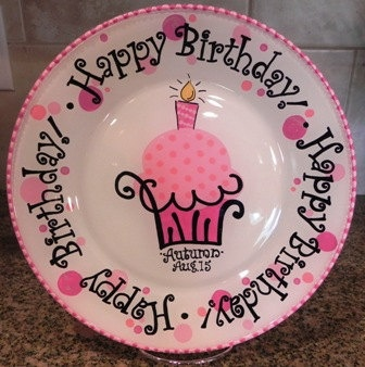 Happy Birthday Hand Painted Plate - Customized and Made to Order. $30.00, via Etsy.