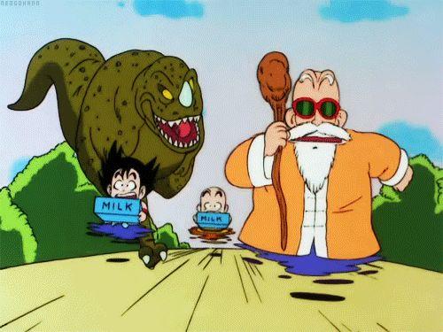 El duro entrenamiento de goku y krillin...ese roshi es un loquillo XD