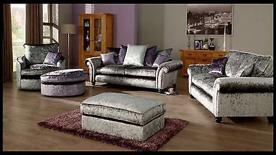 *NEW KASHMIR MAYFAIR SOFA SET 3 2 SEATER CORNER SOFA CRUSHED VELVET SILVER