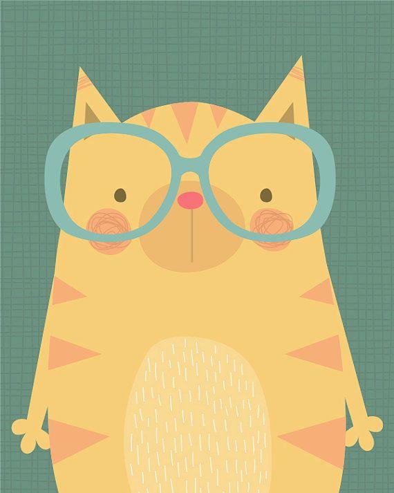 Cute Cat wearing Glasses Illustration - Giclee Art print by Lamai by lamaianne, Etsy $25.00