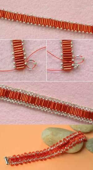 red seed beads bracelet, like it? LC.Pandahall.com will publish the tutorial soon. #pandahall | Bracelets & Bangles 2 | Pinterest by Jersica