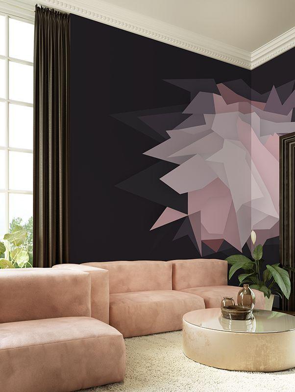 Origami   Designer Murals   Accent Wallpaper   Choose your favorite design from our Accent Wallpaper Collections www.accentwall.eu #mural #wallpapermural #geometricwallpaper #blackandpink