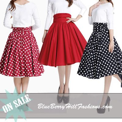 BlueBerryHillFashions: Rockabilly High Waist Swing Skirts | Super Cute Swing Skirts | xs to 28