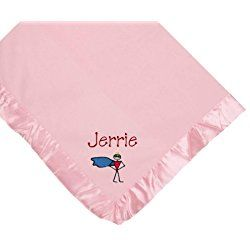 Superhero Pink Soft Fleece Embroidered Personalized Baby Blanket - Custom Embroidery Green Thread