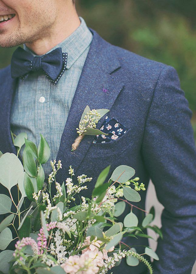 Eucalyptus Boutonniere. 11 Modern Groom Looks That Ditched the Traditional Tuxedo via Brit + Co