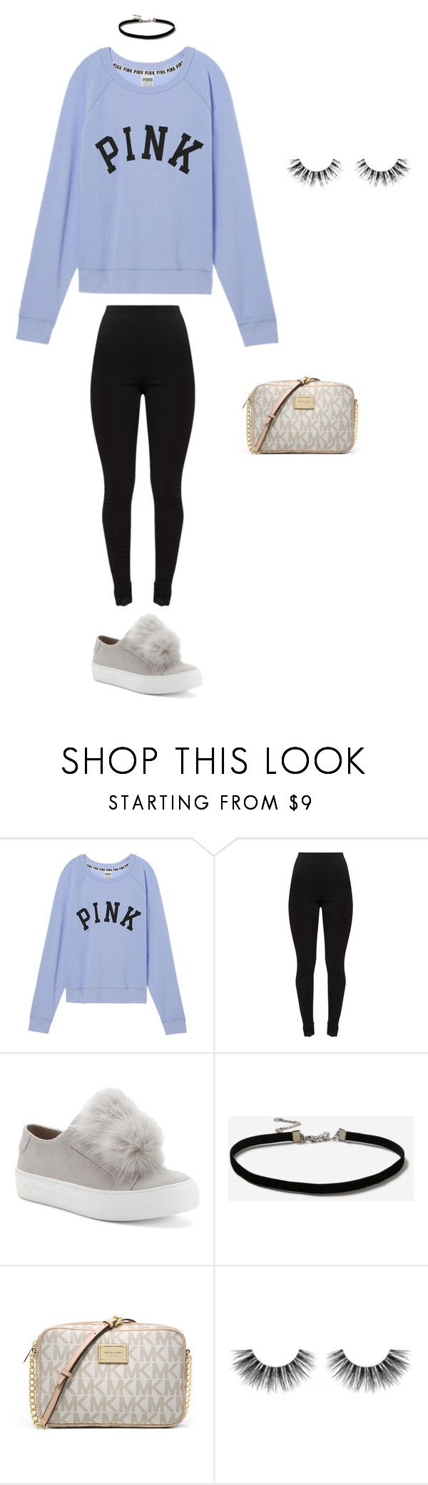 ariana grande inspired fit by jeana-becton on Polyvore featuring Victoria's Secret, Candie's, MICHAEL Michael Kors, Topshop, Velour Lashes, cute, Pink, Unique, ArianaGrande and victoriassercret