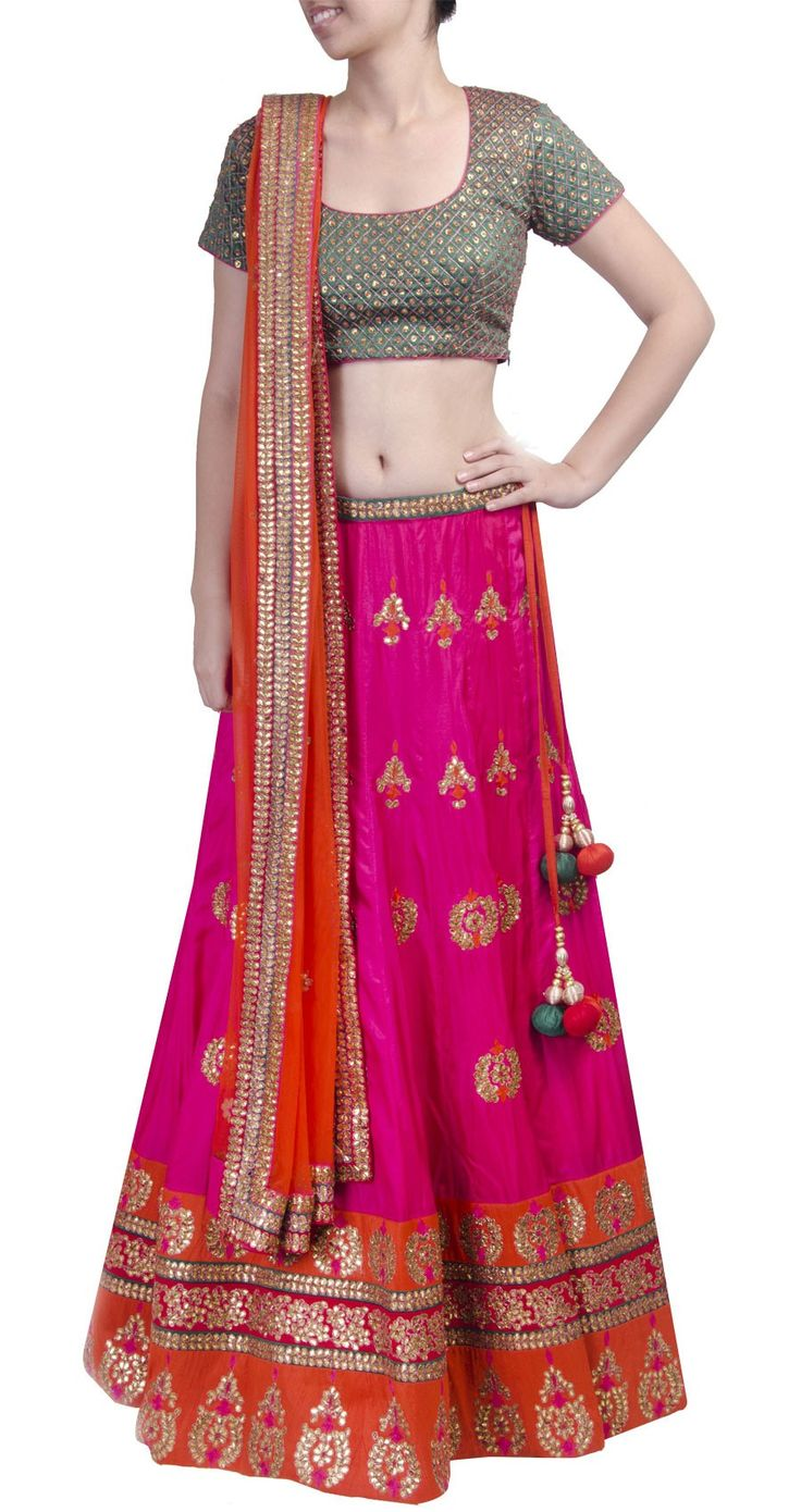 SVA Fuschia lehenga set with gota work perniaspopupshop.com