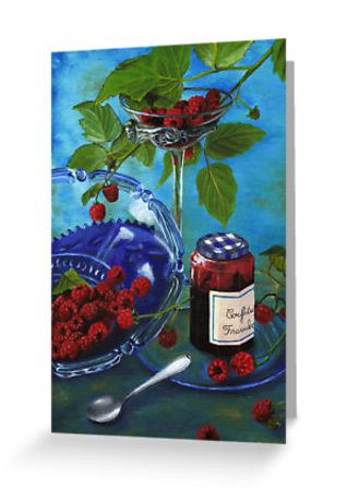 """""""Still-life with raspberries"""" Greeting Cards & Postcards by @savousepate on @redbubble #greetingcard #stationerycard #postcard #stationery"""