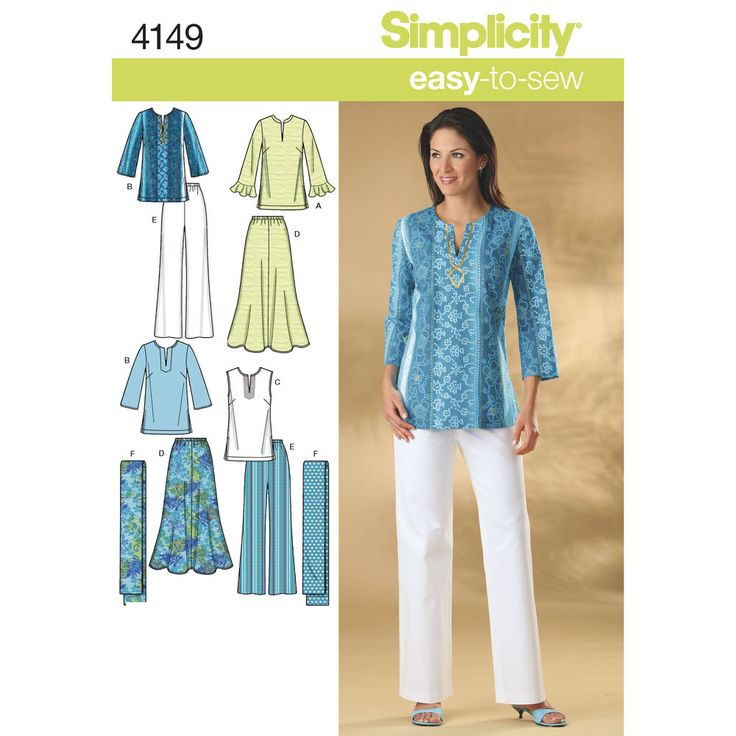 Misses' and Plus Size skirt, pants, tunic top and scarf. Simplicity sewing pattern. ; this may be too basic -DB
