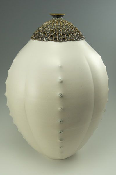 "Simon van der Ven  Making objects for warmth, light, and nourishment - Durian Jar, Porcelain, 18"" tall, $1,200"