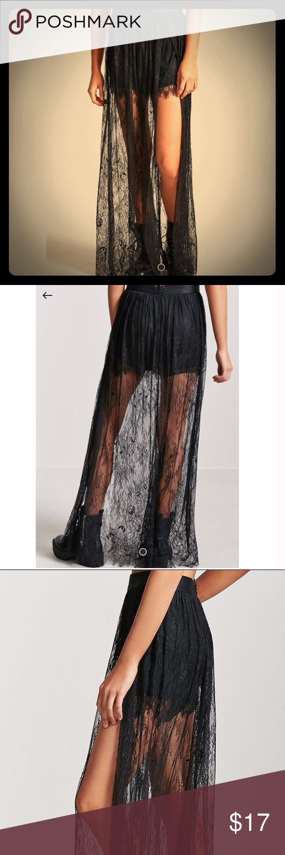F21 Sheer Lace Maxi Skirt with Shorts! D&G Style! 2018 Forever 21 'Contemporary Collection' *NWT* Black sheer Chantilly eyelash lace maxi skirt, satin waistband, concealed zipper, stunning high slit on side, & full coverage silk with lace overlay boy shorts.   The design, fit, and quality of fabric replicates high end runway styles such as D&G identically.  Dress up or down. Tights or leggings are complimentary for Fall/Winter wear.  Sz:XL *Sizing is more comparable to a LARGE or 8-10…