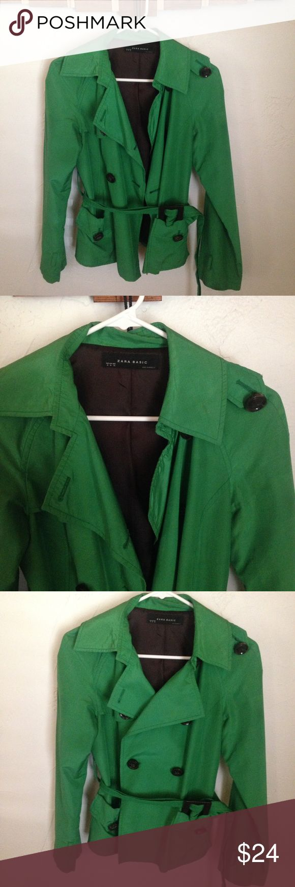 Green Zara jacket medium Gorgeous green Zara jacket. Perfect for the office of as a classy light spring jacket. Excellent used condition, no blemishes or stains. Size medium. True to fit. Very flattering with the belt. Zara Jackets & Coats Blazers