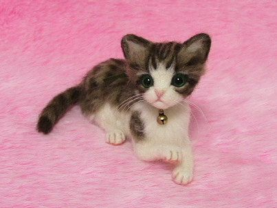 Needle Felted Brown Tabby and White Kitten: Miniature Wool Felt Cat