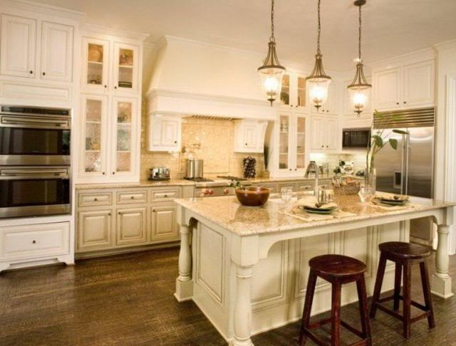 Luxury Antique Cream Colored Kitchen Cabinets