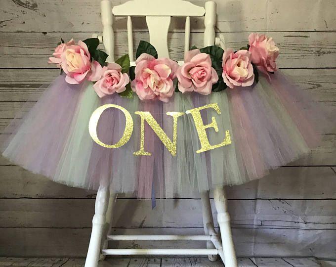 Pastel tutu trona Tutu unicornio partido trona-silla alta falda rosa oro y luz 1er cumpleaños-rosa oro y rosa claro