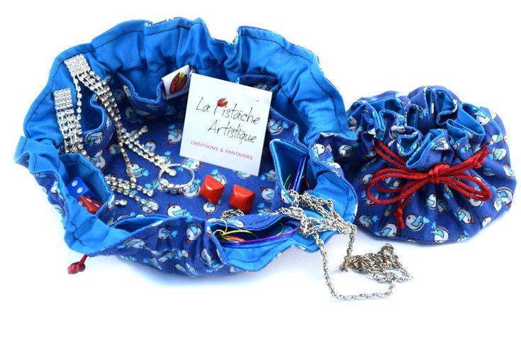 Pochette à liens coulissants pour bijoux, étui pour voyage, Bourse à bijoux, Organisateur, La Pistache artistique, oiseau de la boutique LaPistacheArtistique sur Etsy
