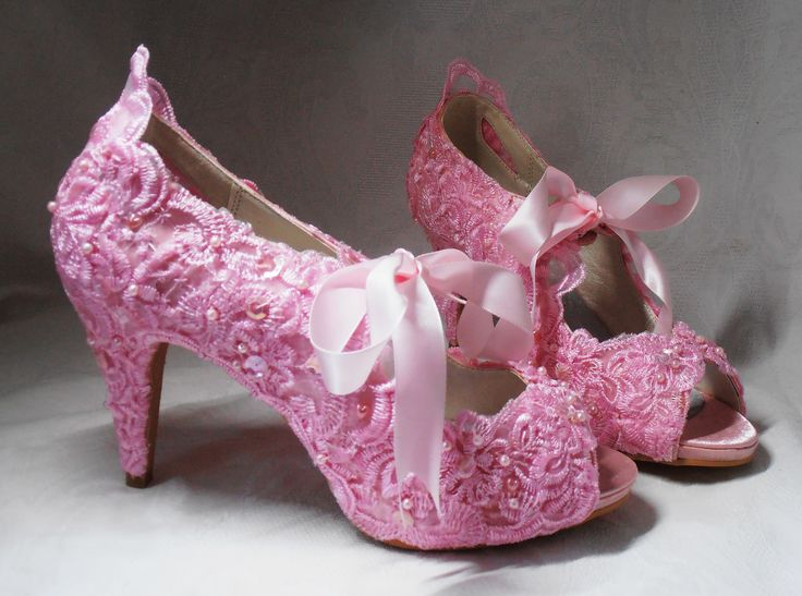 Design 'REGENCY PINK' - embellished with lace, pink embroidery, pearls and Swarovski elements, pink satin ribbon ties.  Soft leather insoles - Nicky ROX Shoe Designs  http://www.nickyrox.co.uk/