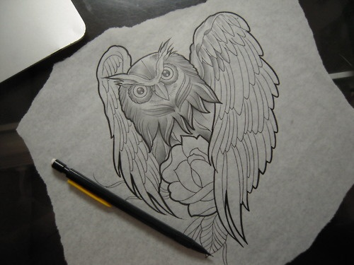 Owl Tattoo Sketch | Tattoos, Henna, and Inks | Pinterest ...