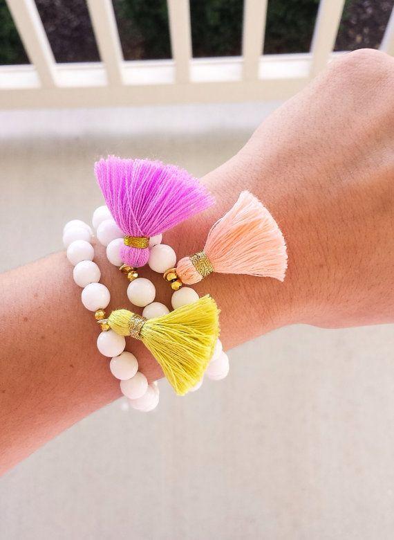 White Jade Luxury Tassel Bracelet by LovesAffect on Etsy, $18.00