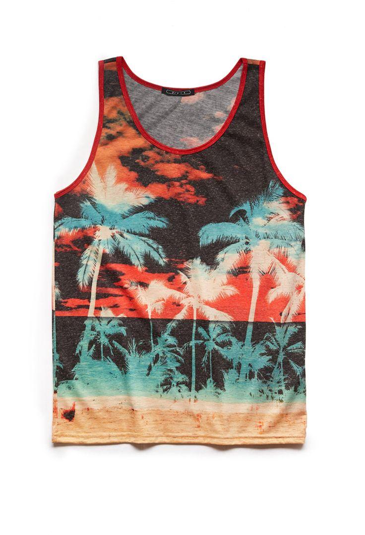 Tropical Sunset Linen-Blend Tank   21 MEN #ForeverFest #Cranechella #21Men