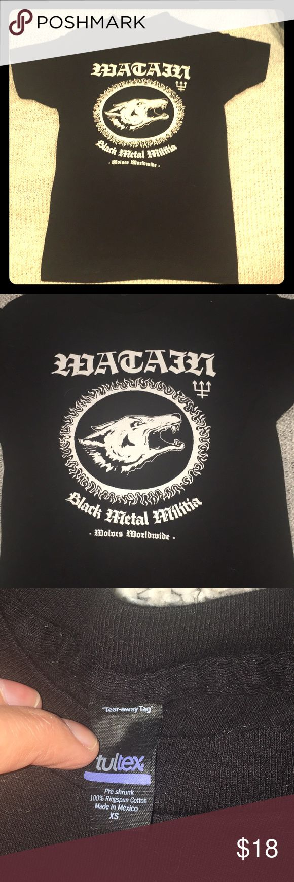 Watain Black Metal band tee XS This XS black tee features the amazing black-metal band Watain. Brand new, never worn, a true XS. Cotton, easy to wash and wear, rock!!!! 💕💕💕 Tops Tees - Short Sleeve