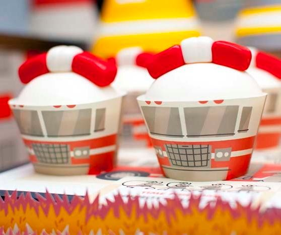 Fire Truck Birthday Cupcake Wrappers Fire by SpaceshipsLaserBeams, $4.75