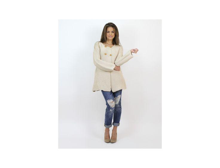 Palton Tricotat cu Nasturi Aurii - Jachete & Paltoane - Famevogue  #palton #haine #famevogue #moda #fashion #coat #trends