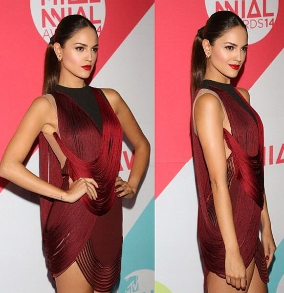 try something different ponytail .. but still sexy with a red dress eiza gonzalez subio de peso