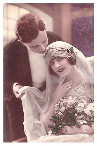Wedding postcard, 1920s.