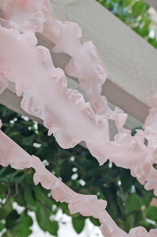 The cutest ruffled streamers from plastic tablecloths!
