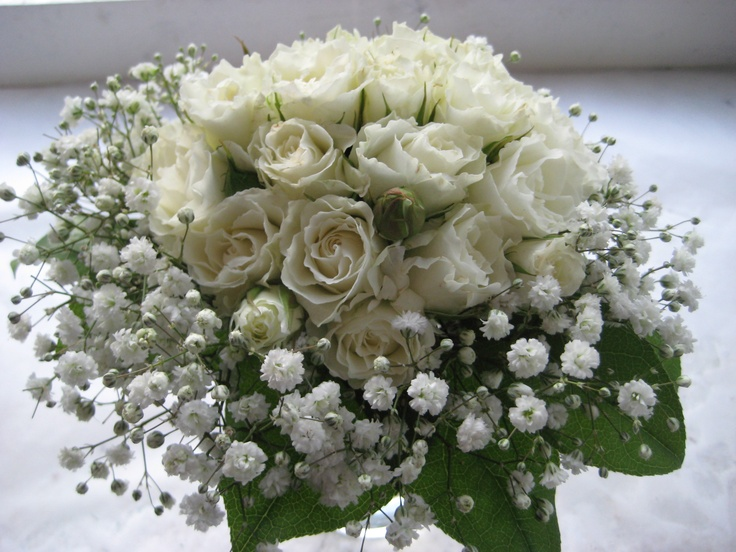 A flower girls posy of white spray roses and a collar of gypsophilia