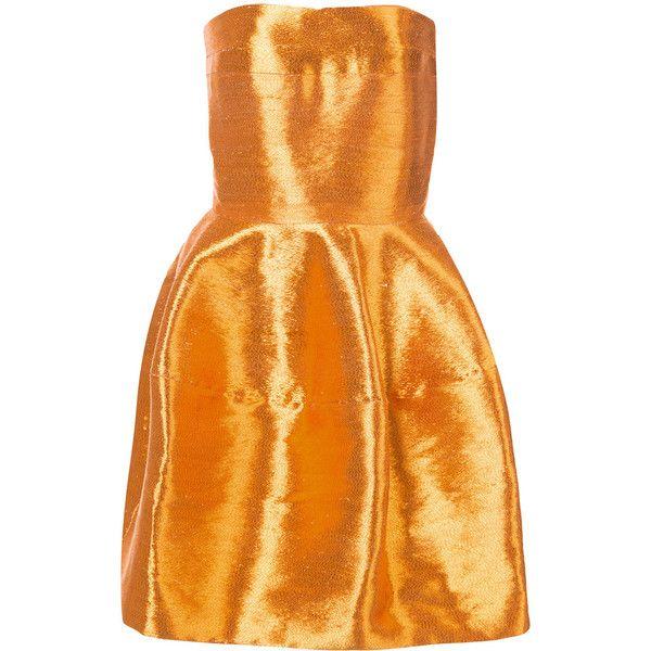 Oscar de la Renta strapless mini dress ($6,490) ❤ liked on Polyvore featuring dresses, orange mini dress, oscar de la renta, strapless dress, mini dress and short strapless dresses