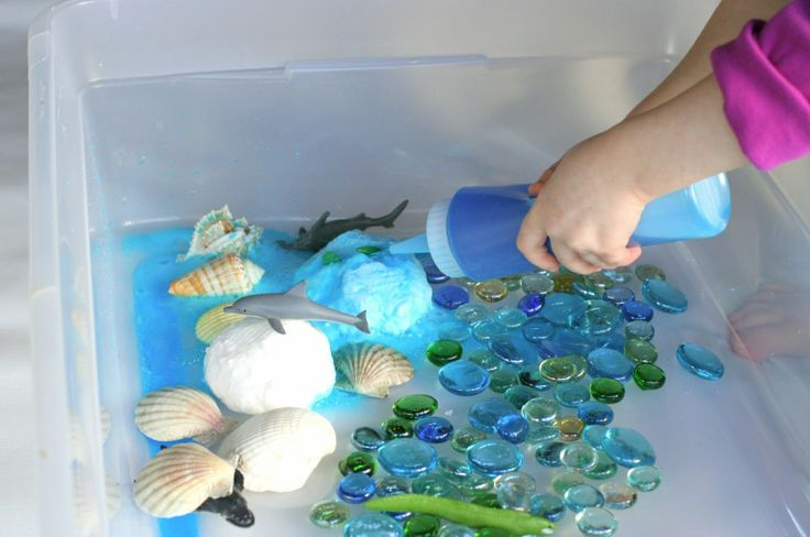"Simple Small Worlds:  Fizzing Hidden Ocean World  How to make baking soda shells that fizz and dissolve when you add ""ocean"" water! FUN AT HOME WITH KIDS"