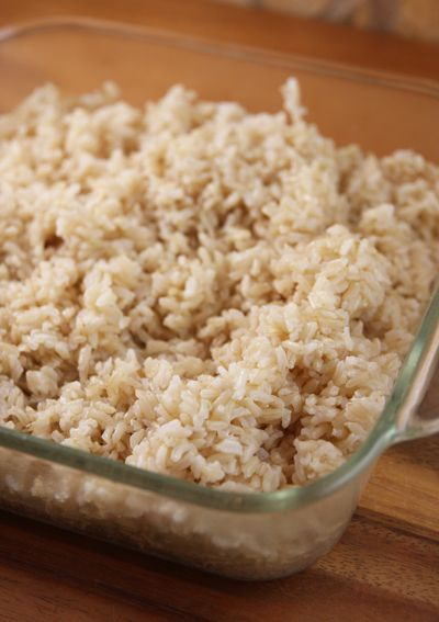 Perfect Brown Rice....And if you want to double it, just use a 9×13 pan, and the baking time remains the same.  You can also use a ceramic pan with a tight-fitting lid.