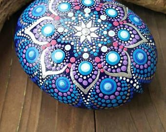 Big mandala stone,mandala style painted rock, love rock, painted stone, Valentine gift idea