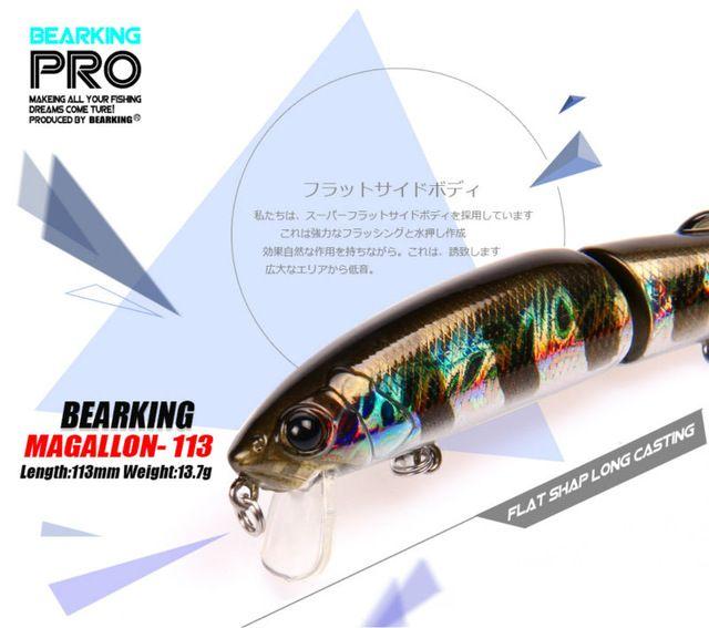 Varejo Bearking 2016 modelo quente iscas de pesca minnow hard bait 113mm 13.7g equipado qualidade profissional preto ou branco ganchos