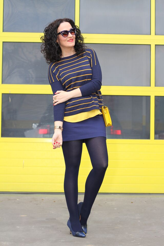 "NAVY BLUE AND YELLOW OUTFIT -  As first seen on blog ""Black Dress Inspiration"" here: NAVY BLUE AND YELLOW OUTFIT  She is wearing tights similar here: Black Opaque Tights Comfortable fully opaque tights feature compression knitting technology which prevents legs from tiring too quickly. Extra-wide soft knit waistband.  #tights #pantyhose #hosiery #nylons #tightslover #pantyhoselover #nylonlover #legs"