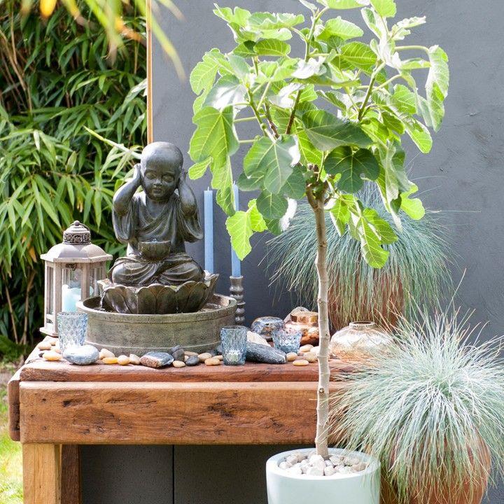 Zo'n Oosters hoekje in je tuin geeft een rustgevende sfeer. #intratuin #Boeddha #Oosters #pintratuin