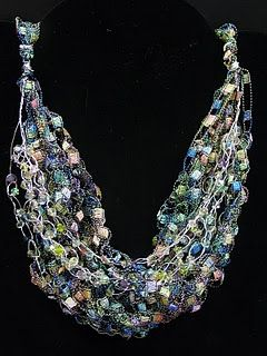 crocheted necklace using ladder yarn; tutorial - thanks!