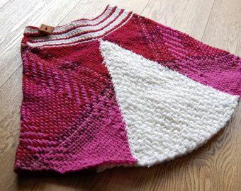 Falda de lana fucsia y blanca