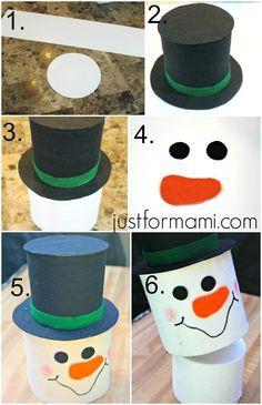 DIY Covertor para el papel de baño. Hazlo tu mismo en casa.  Decoraciones Navideñas para Baño -  Just for Mami   Manualidades | Crafts | Navidad | Día de Reyes | Muñeco de nieve