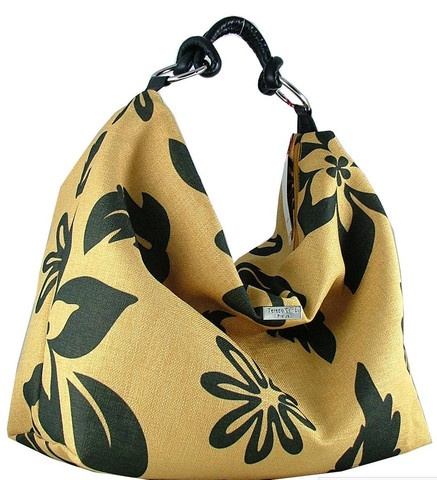Yellow & Black linen and leather bag for summer chic