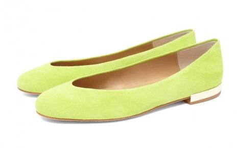 The CLEO B classic Hip Hop flats in a pistachio suede with gold heel detailing #sea #monsters #shoe #collection #beatles #inspired #summer #pistachio #green #suede #gold #heels #fashion #designer #london