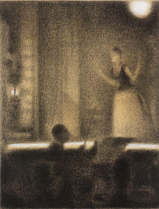 Georges Seurat French, 1859-1891 At the Gaîté Rochechouart (Café-concert), ca. 1887-1888 Conté crayon with gouache on laid paper/RISD Museum