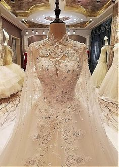Lilybridalshop Fabulous Tulle Illusion High Collar A-line Wedding Dresses With Beadings & Lace Appliques & 3D Flowers
