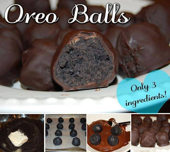 OREO BALLS Ingredients: 1 package Oreo Cookies 1 block cream cheese, softened 1 pack Cooking Chocolate (Hershey's Semi sweet chocolate chips the best)  Method: 1. Place Oreo Cookies in a bag/blender and smash/blend until it is the consistency of dirt. 2. Mix the softened cream cheese into the smashed oreos. 3. Roll the mixture into balls. 4. Melt chocolate in the microwave. 5. Cover balls in chocolate then leave to set in the fridge. —