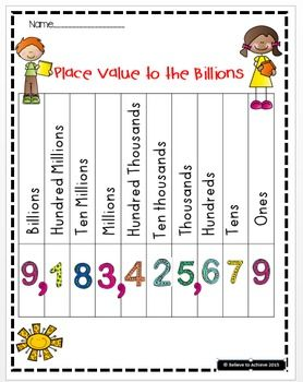 Free!! Here you have four examples of place value charts to the billions! The one in color with the fun numbers would be great to copy on card stock, laminate, and give to students for notebooks as a study sheet! These would be great for third to fifth graders as a visual to use to remember place value to the billions!I hope this helps your students with this tough concept!