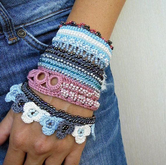 Crochet Bracelet Crochet Beaded Bracelet by SvetlanaCrochet