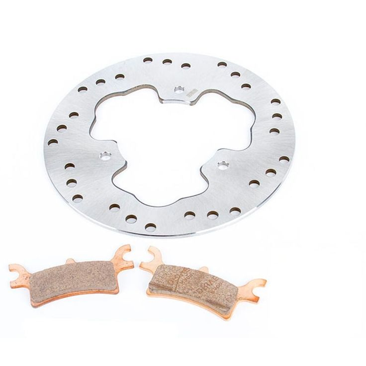 2005-2009 Polaris Scrambler 500 4X4 Rear Rotor and Severe Duty Brake Pads, Silver stainless steel