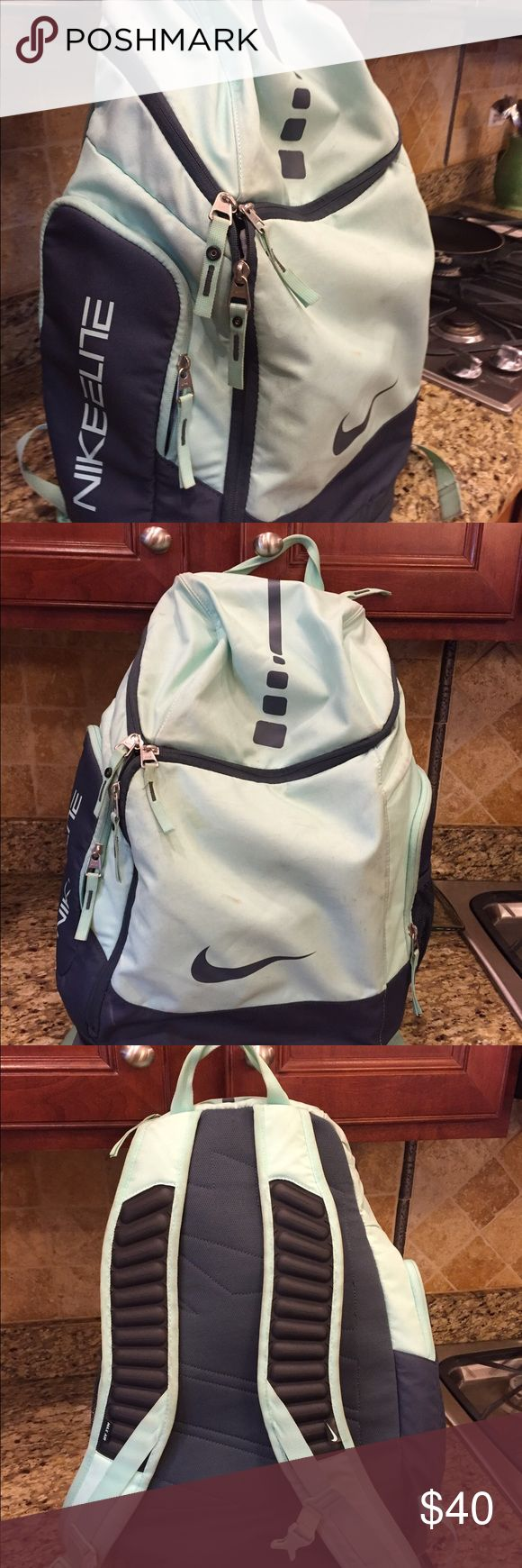 NIKE ELITE backpack Light blue and gray large Nike Elite backpack lightly used. Nike Bags Backpacks